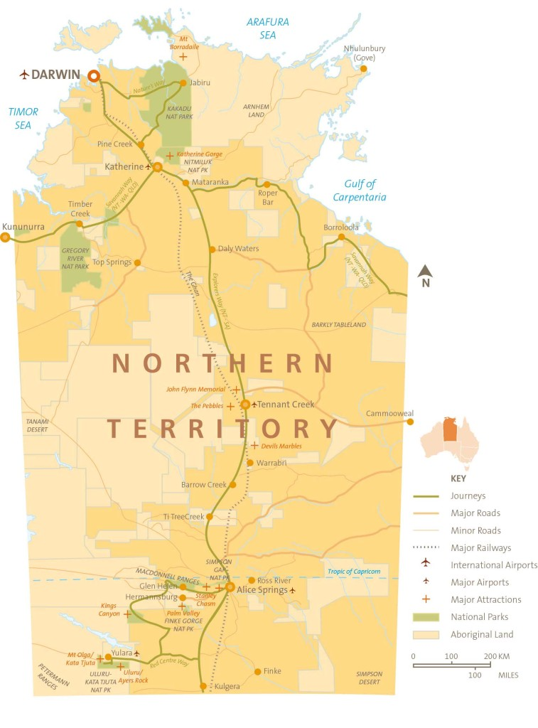 Map of the Northern Territory Australia